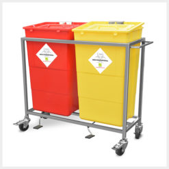 Waste Segregation Trolleys Stainless Steel 60ltr 2 bin