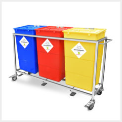 Waste Segregation Trolleys 3 bin 60ltr Stainless Steel
