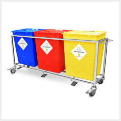 Waste Segregation Trolleys 30Ltr - 4 Bin Stainless Steel