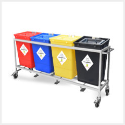 Waste Segregation Trolleys 4 bin 60ltr Stainless Steel