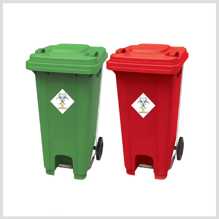 Hospital Waste Bin With Foot Paddle And Wheels Medical